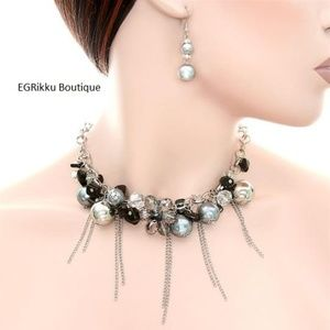 Silver and Black Necklace and Earring Set